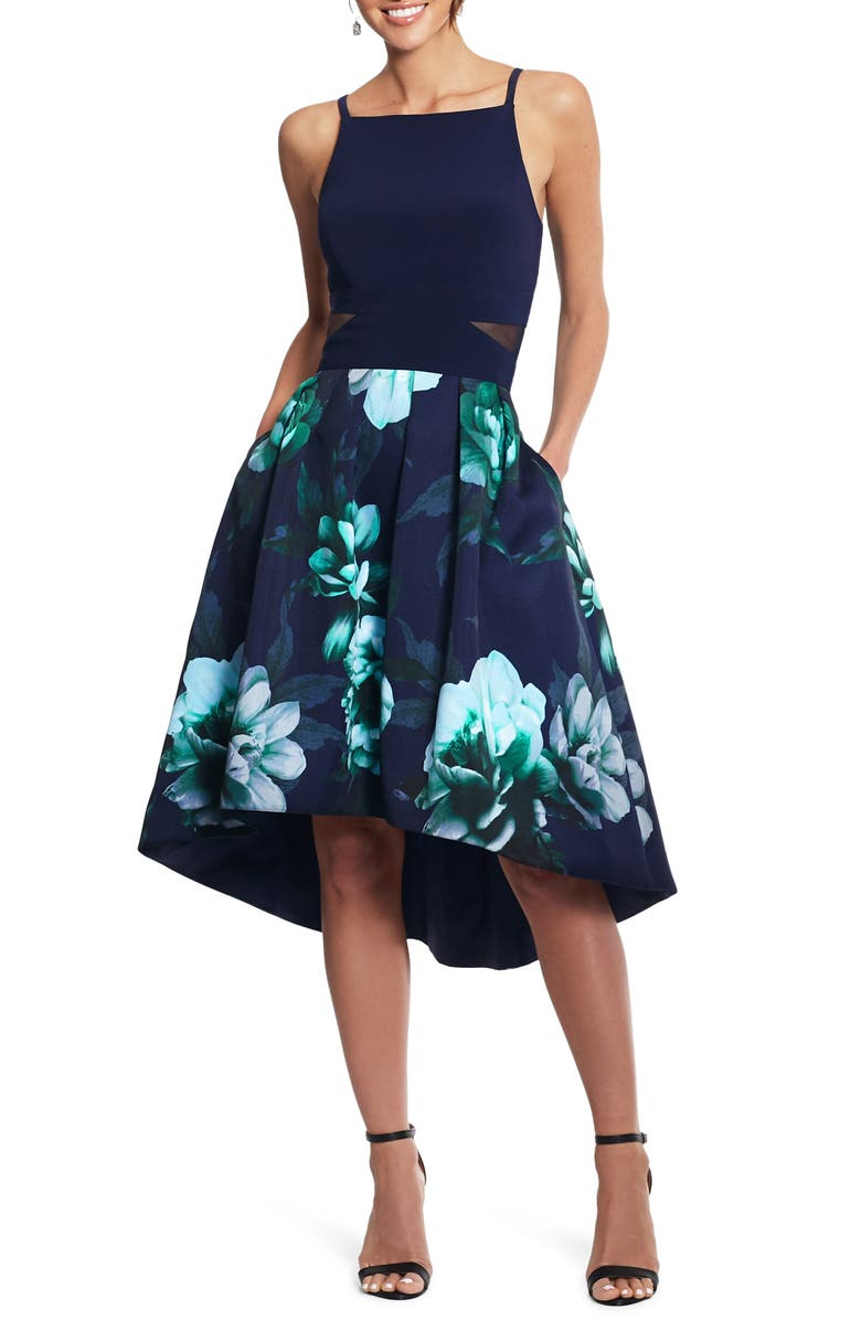 XSCAPE Floral High/Low Cocktail Dress, Main, color, NAVY/ GREEN