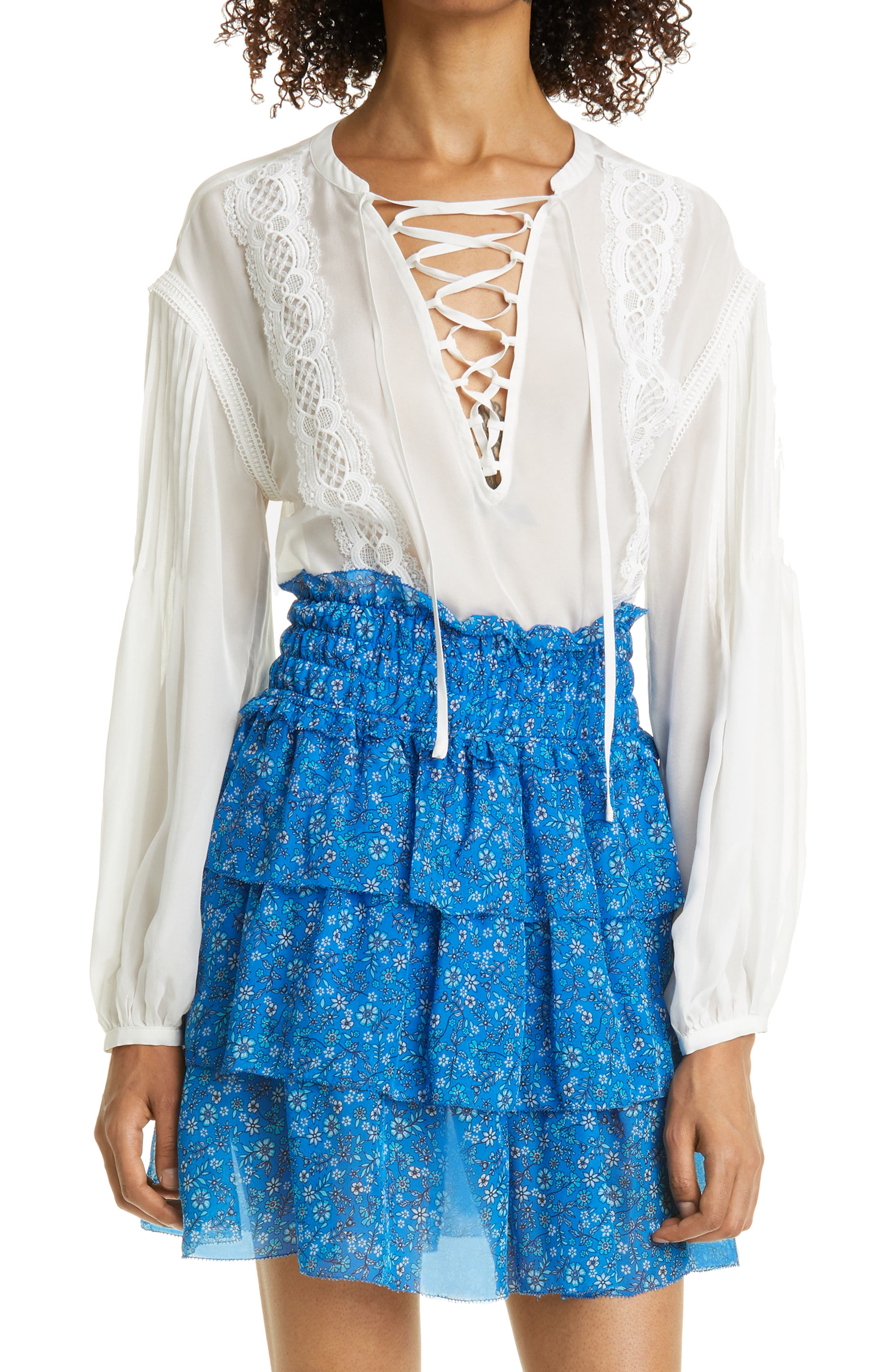 Lace-Up Silk Blouse