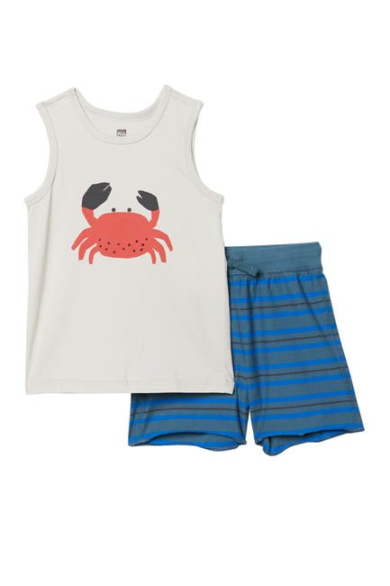Image of Tea Collection Crab Print Tank Top & Shorts 2-Piece Set