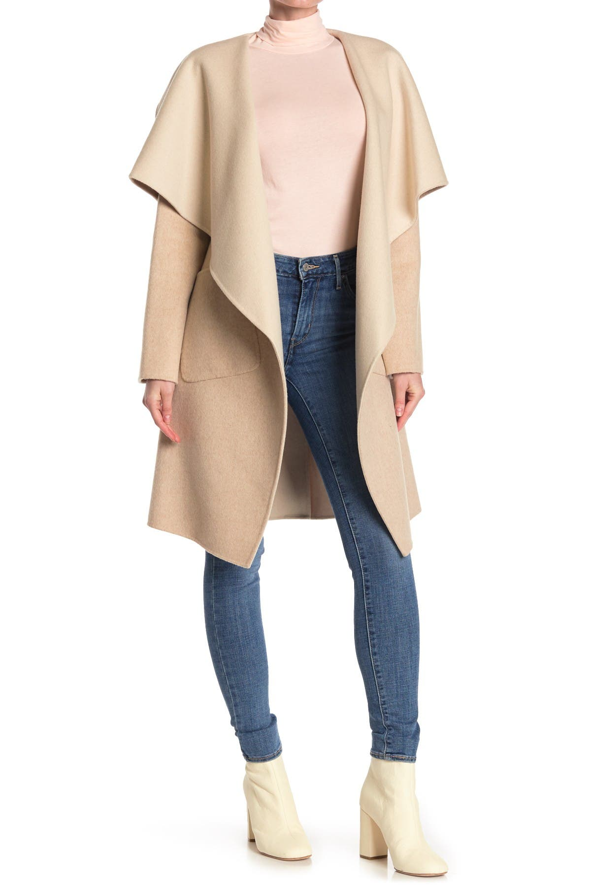 Image of BCBGMAXAZRIA Wing Collar Wool Blend Duster Coat