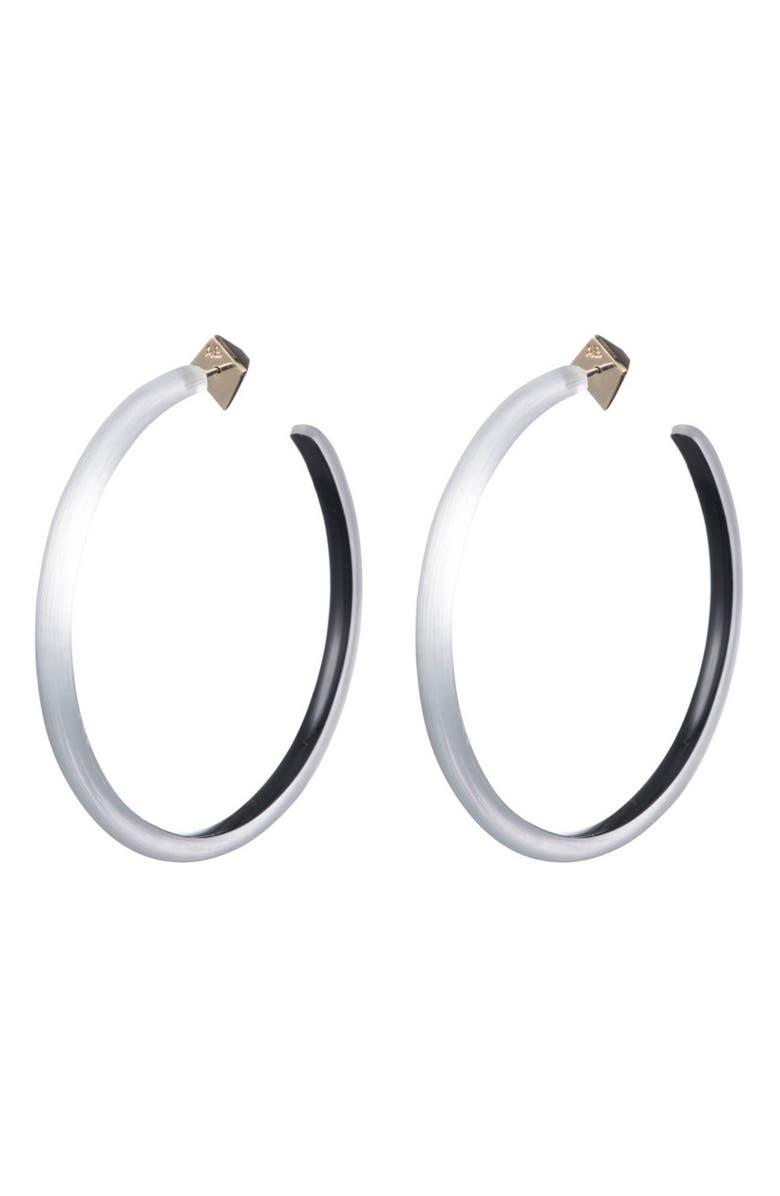 ALEXIS BITTAR Large Skinny Hoop Earrings, Main, color, SILVER
