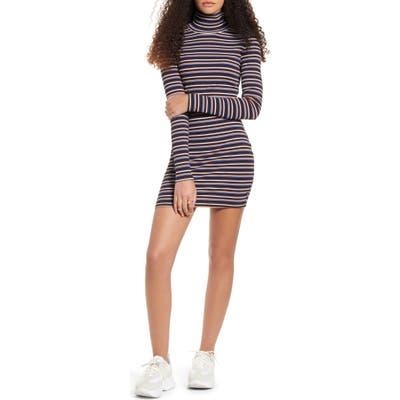 Lira Clothing Geneva Stripe Turtleneck Long Sleeve Cotton Dress, Blue