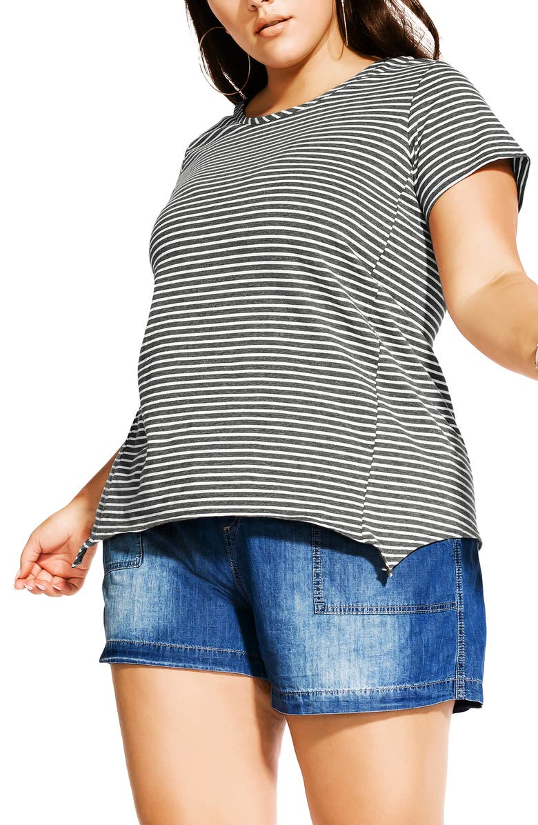 CITY CHIC Relaxed High/Low Stripe Stretch Cotton Top, Main, color, IVORY