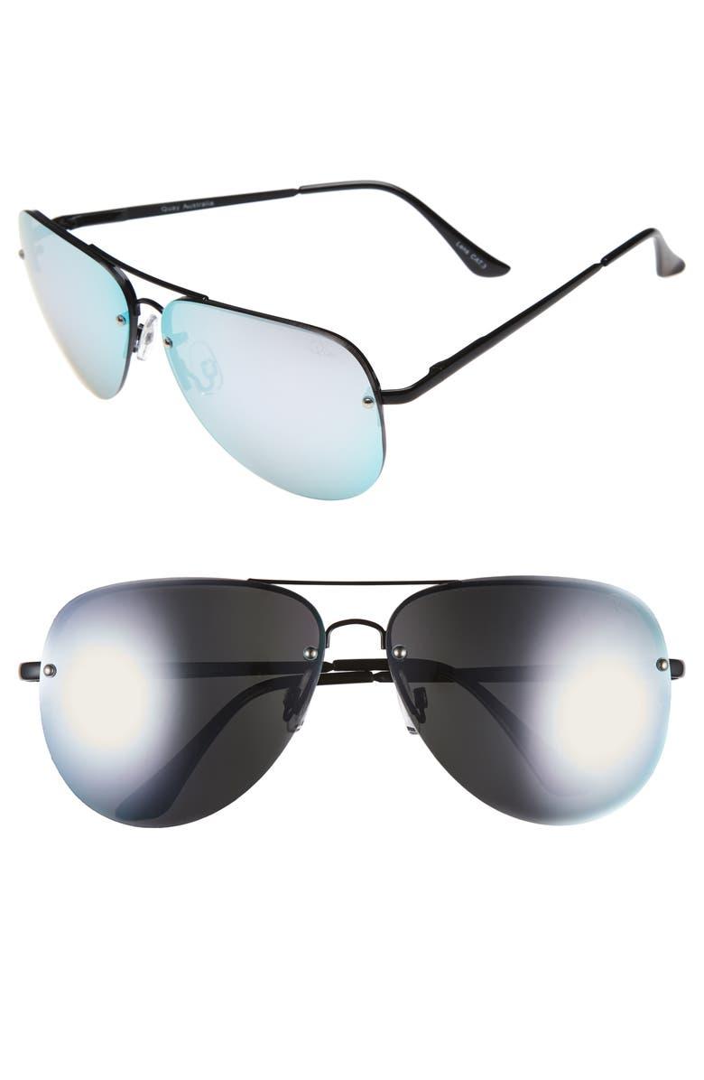 QUAY AUSTRALIA 'Muse' 65mm Mirrored Aviator Sunglasses, Main, color, 001