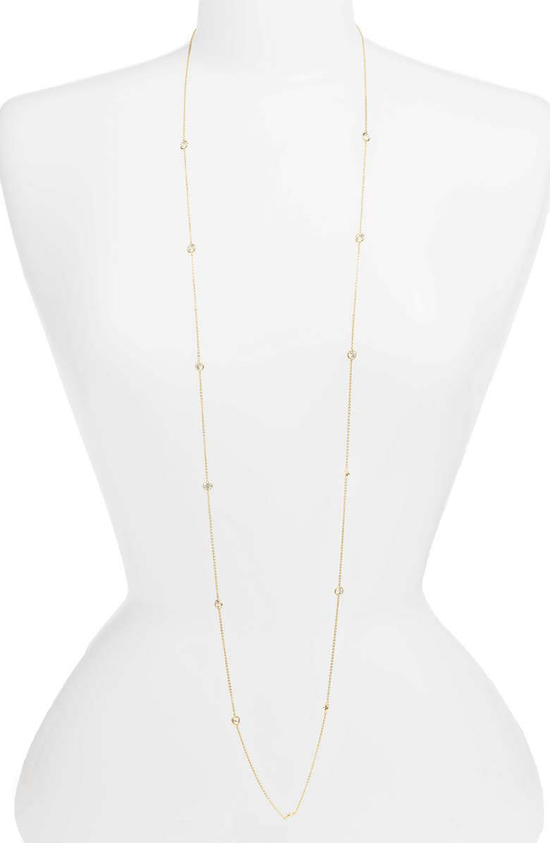 NORDSTROM Bezel Stone Long Necklace, Main, color, CLEAR- GOLD