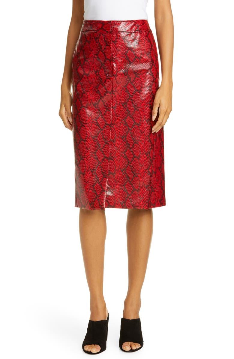 TIBI Faux Snakeskin Pencil Skirt, Main, color, 600