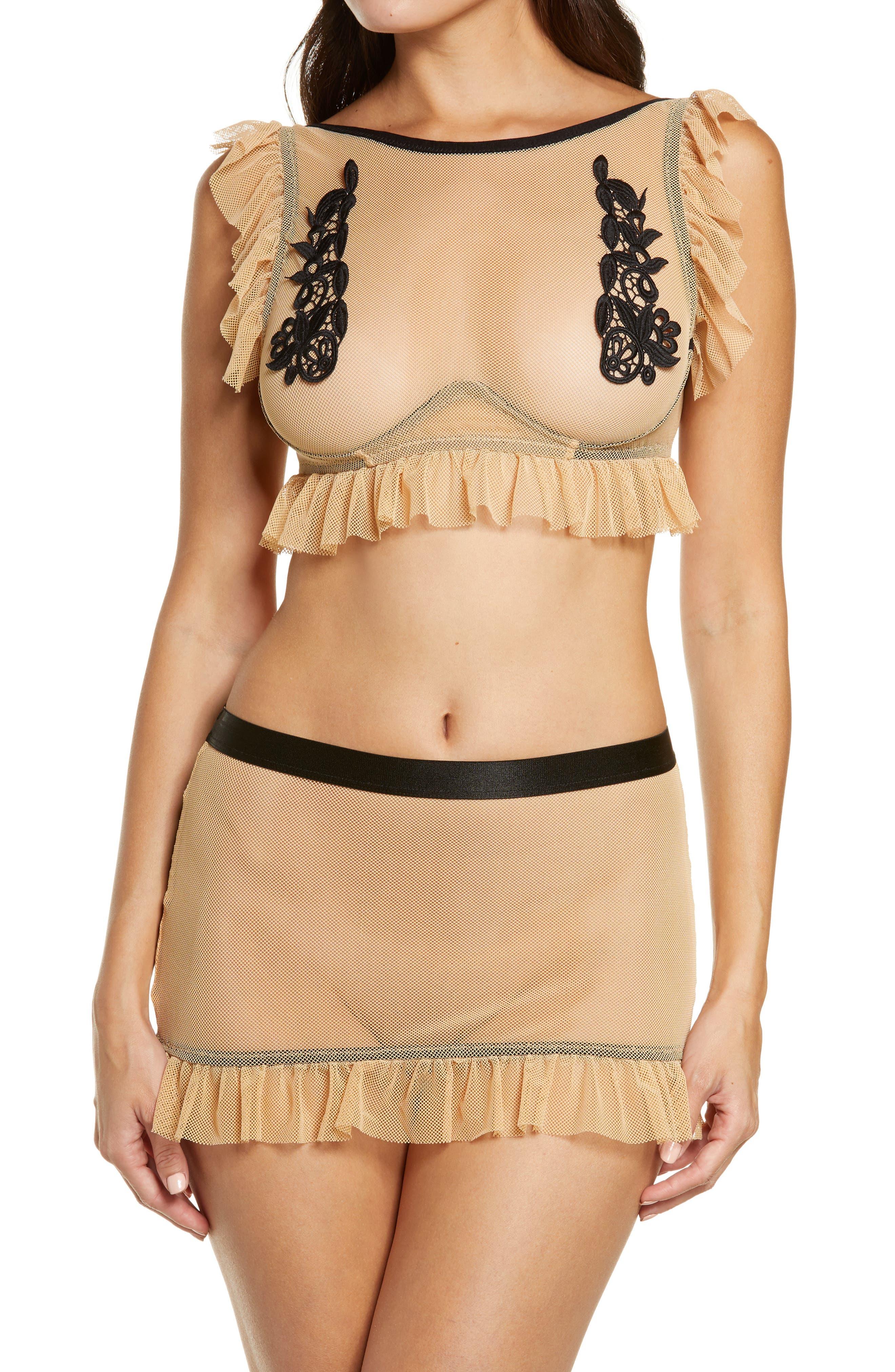 Ruffle Trim Mesh Bralette & Skirt Set