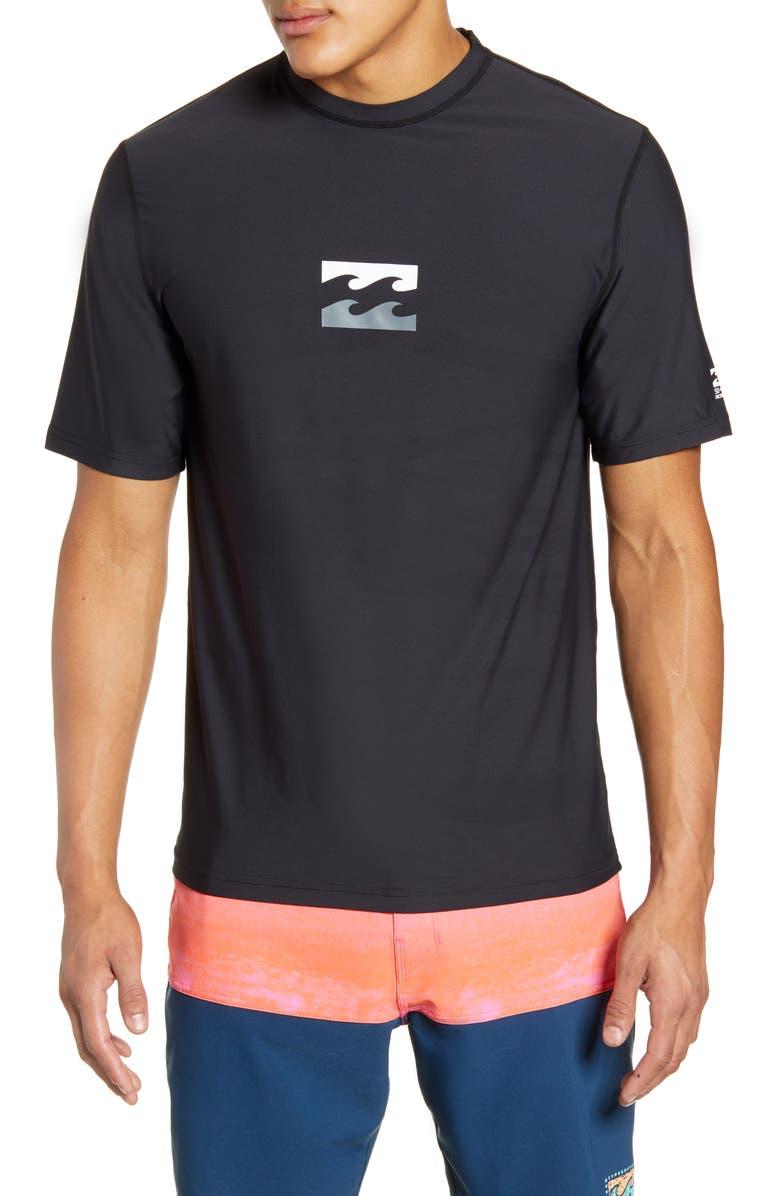 BILLABONG All Day Wave Loose Fit Short Sleeve Rashguard, Main, color, BLACK