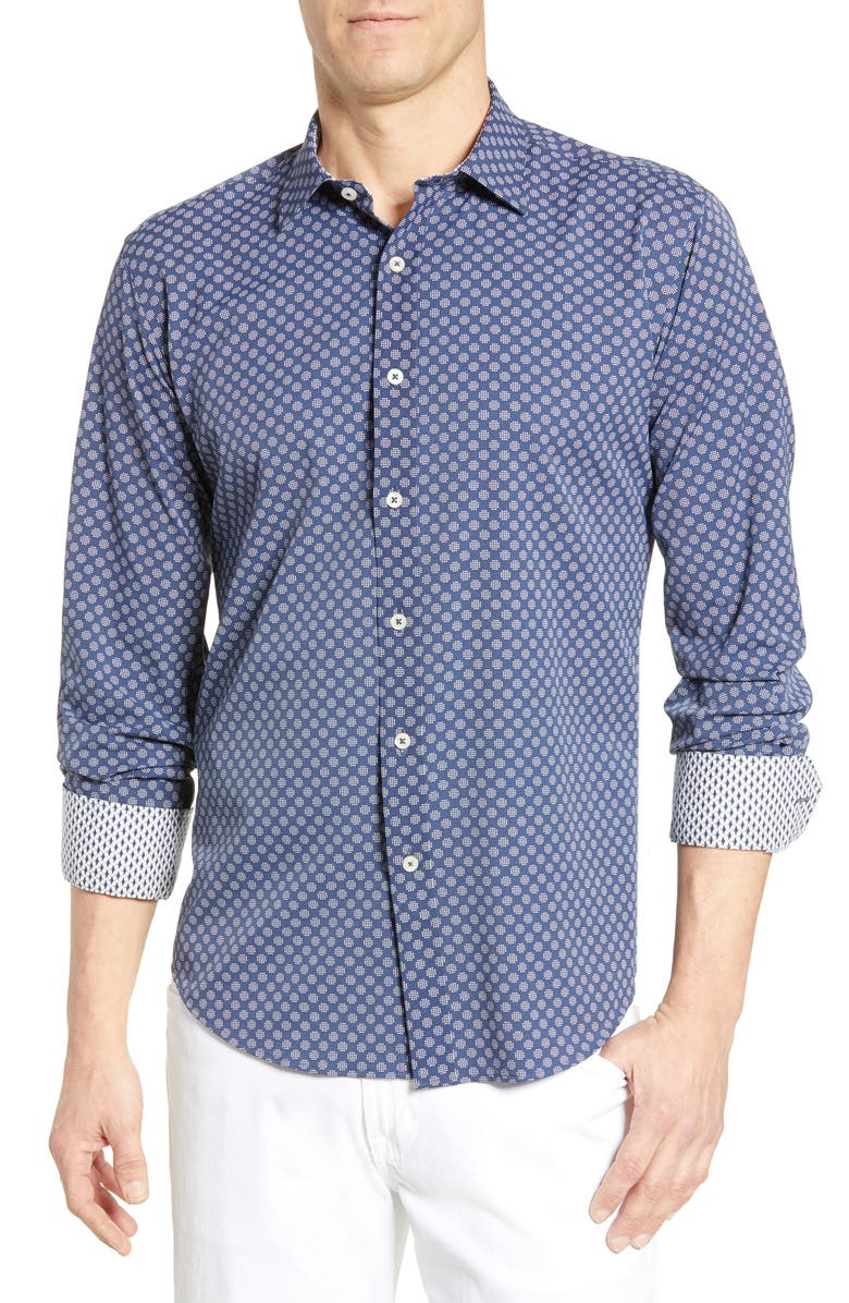 BUGATCHI Shaped Fit Dot Grid Performance Shirt, Main, color, MIDNIGHT