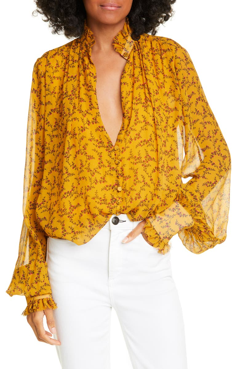 JONATHAN SIMKHAI Print Silk Chiffon Blouse, Main, color, TUMERIC PRINT