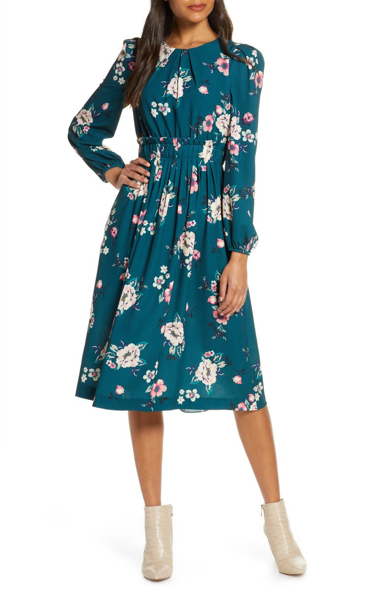 Floral Print Long Sleeve Midi Dress, Main, color, HUNTER