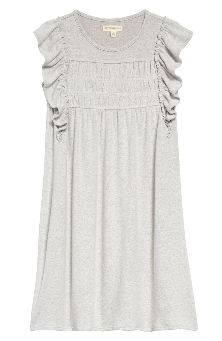 TUCKER + TATE Kids' Cozy Flutter Sleeve Dress, Main, color, GREY ASH HEATHER