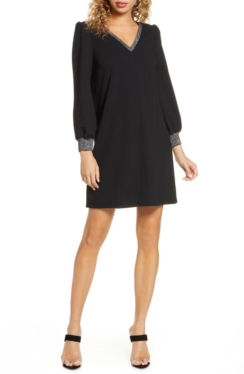 SAM EDELMAN Metallic Trim Long Sleeve Shift Dress, Main, color, BLACK