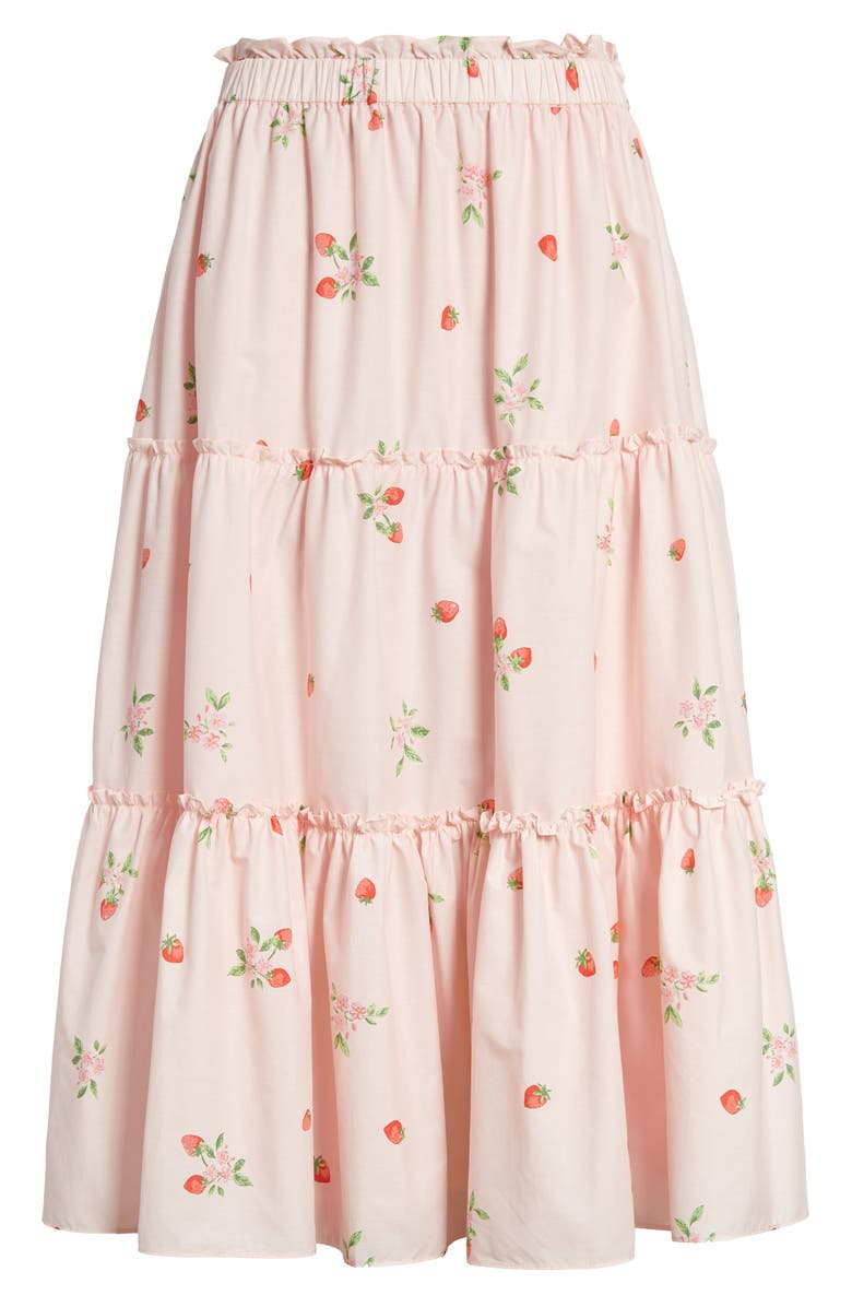 RACHEL PARCELL Strawberry Print Tiered Skirt, Main, color, PINK ROSEWATER STRAWBERRY