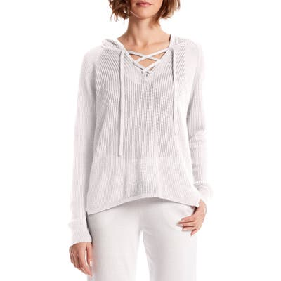 Michael Stars Karter Lace Up Cotton Blend Hoodie, White