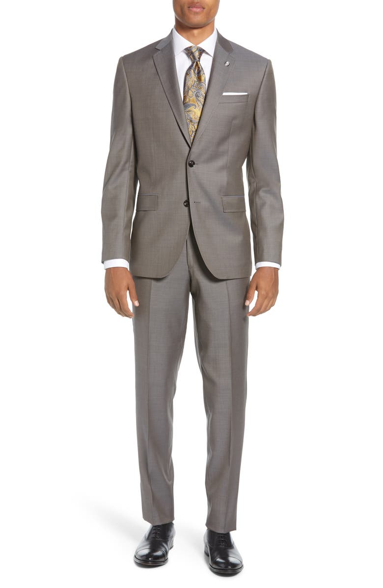 TED BAKER LONDON Jay Wool Suit, Main, color, TAUPE