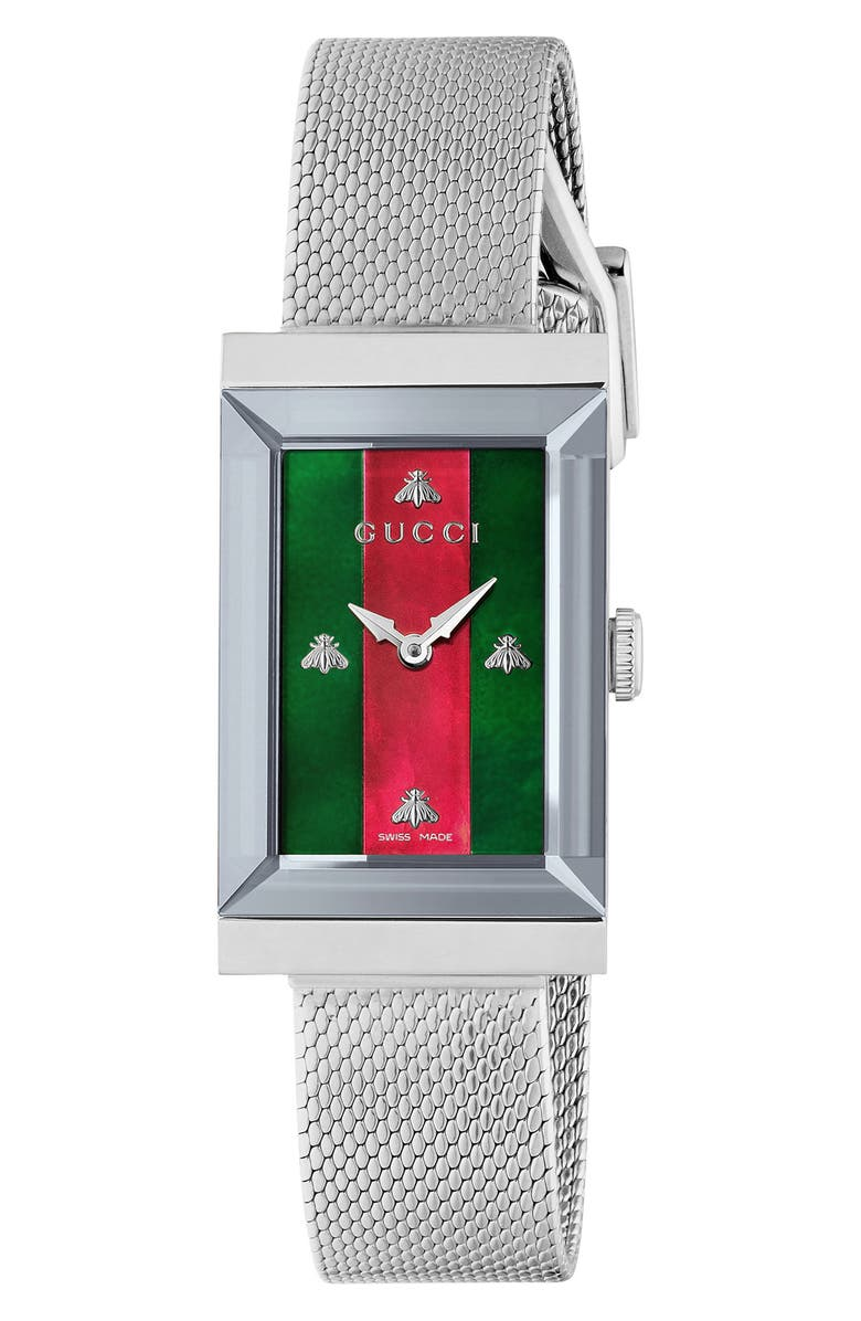 GUCCI G-Frame Mesh Strap Watch, 21mm x 34mm, Main, color, SILVER/ GREEN/ RED/ SILVER