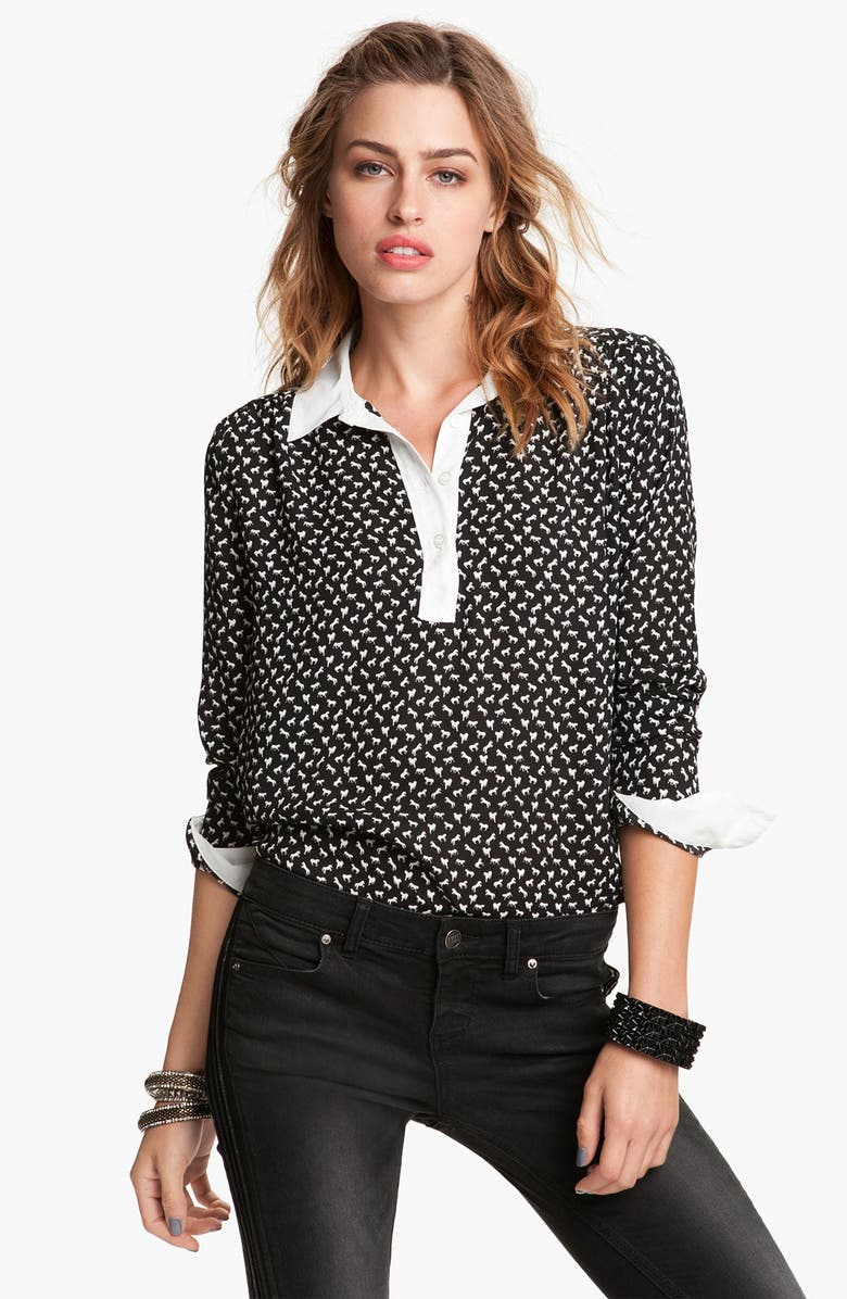 FREE PEOPLE Pony Print Shirt, Main, color, 001