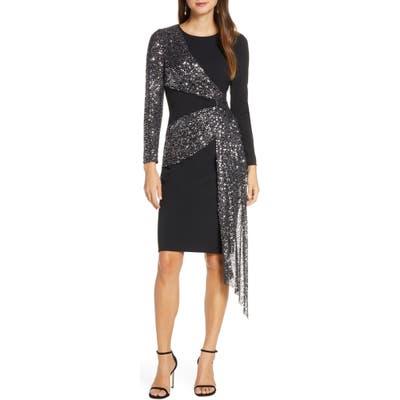 Eliza J Sequin Sash Long Sleeve Scuba Crepe Cocktail Dress, Black