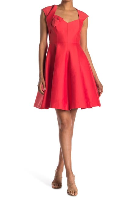 Image of HALSTON Cap Sleeve V-Neck Dress