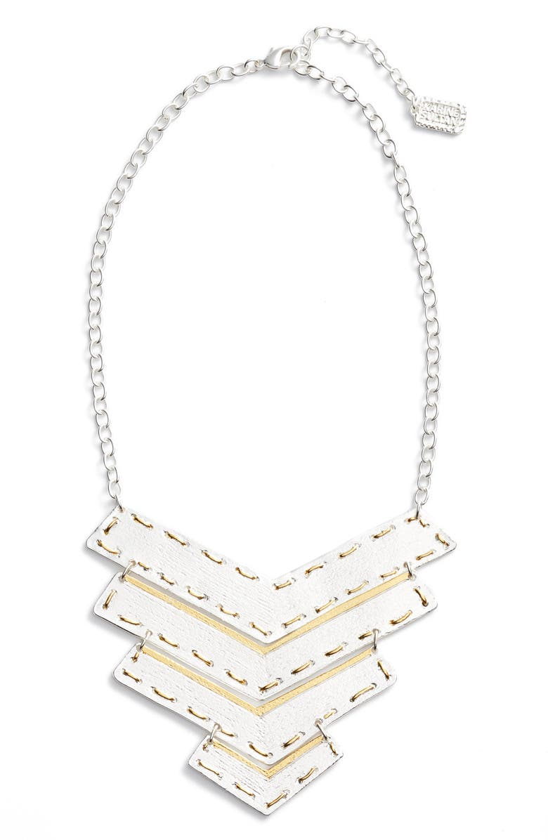 KARINE SULTAN Chevron Pendant Necklace, Main, color, SILVER/GOLD MIX