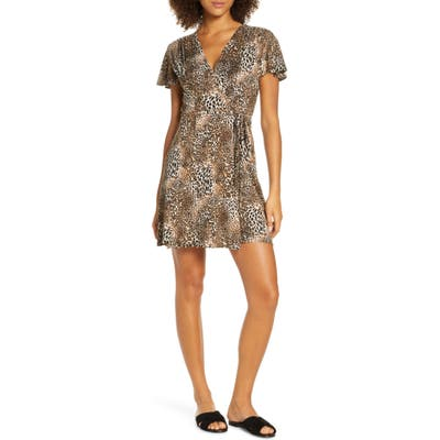 French Connection Eso Leopard Print Jersey Dress, Brown