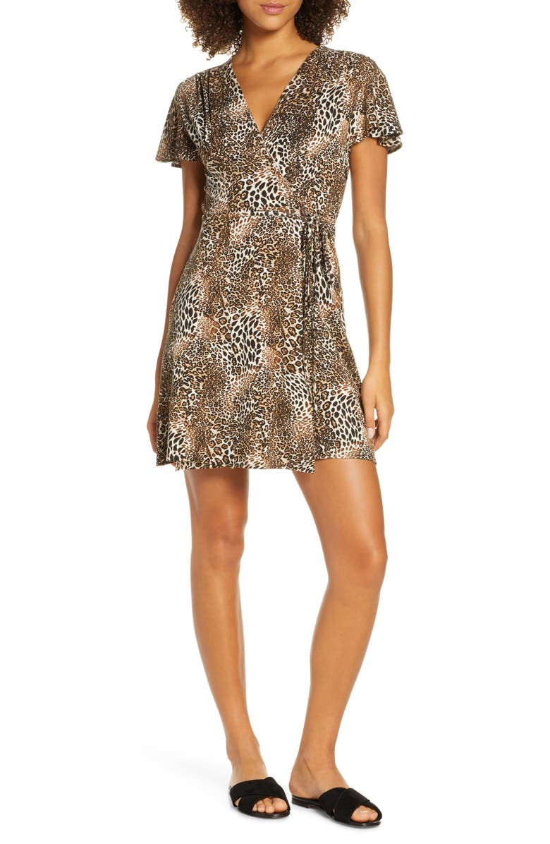 FRENCH CONNECTION Eso Leopard Print Jersey Dress, Main, color, ESO LEOPARD JERSEY