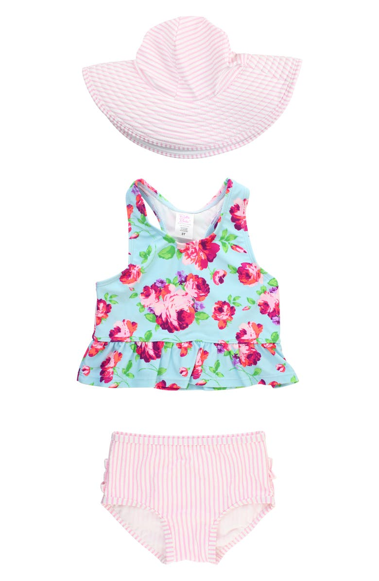RUFFLEBUTTS Rosy Two-Piece Swimsuit & Hat Set, Main, color, BLUE