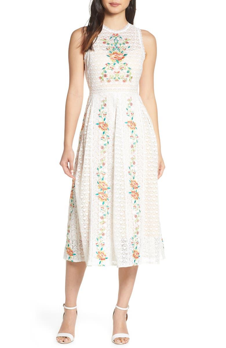 FOXIEDOX Lori Embroidered Lace Midi Dress, Main, color, OFFWHITE MULTI