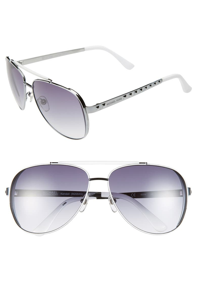 MICHAEL MICHAEL KORS 'Kendall' 62mm Metal Aviator Sunglasses, Main, color, 038