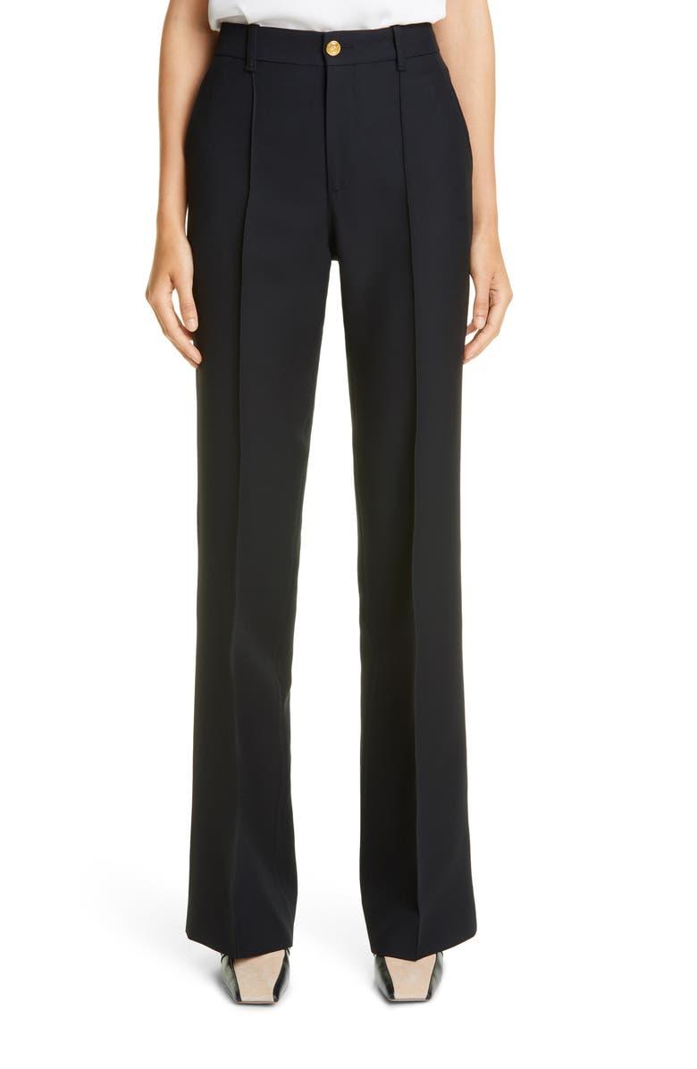 GUCCI High Waist Silk & Wool Cady Crepe Flare Pants, Main, color, BLACK