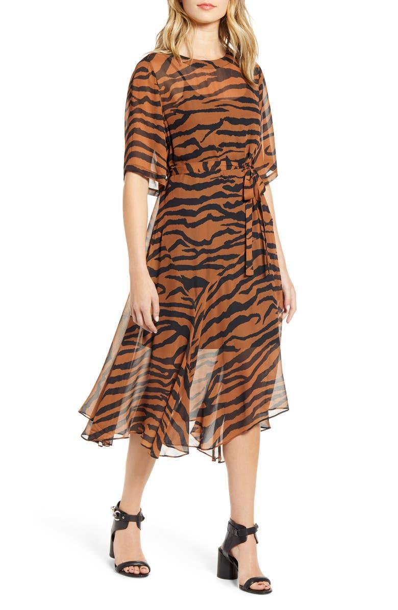 ALLSAINTS Enki Zephyr Tiger Stripe Dress, Main, color, TOFFEE BROWN/ BLACK