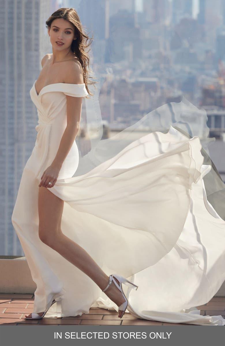 BLISS MONIQUE LHUILLIER Off the Shoulder Wedding Dress, Main, color, SILK WHITE
