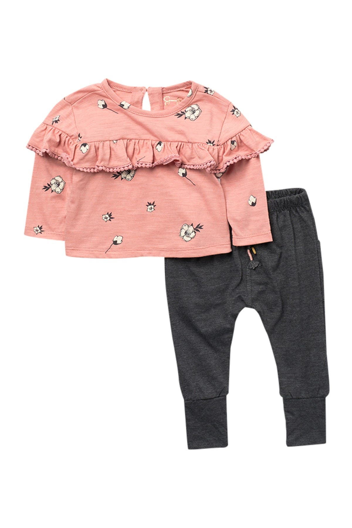 Image of Jessica Simpson Ruffled Long Sleeve Top & Joggers Set