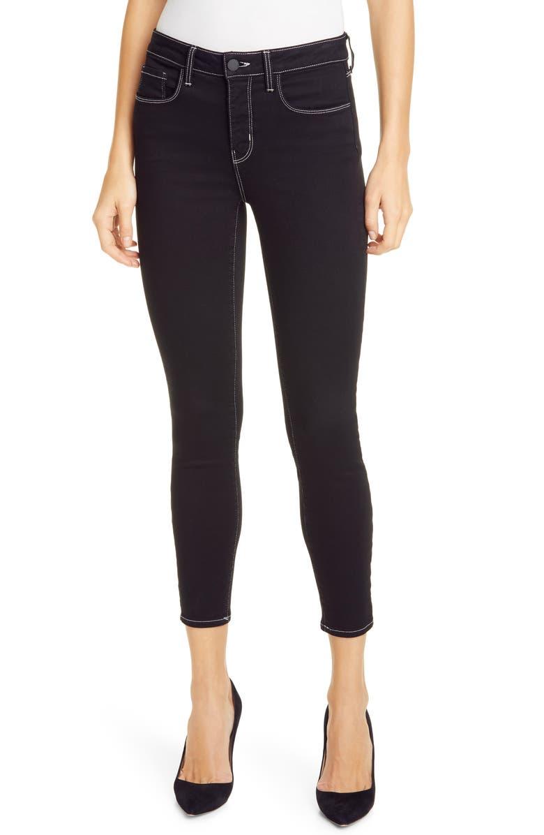 L'AGENCE Margot Contrast Stitch Crop Skinny Jeans, Main, color, NOIR CONTRAST