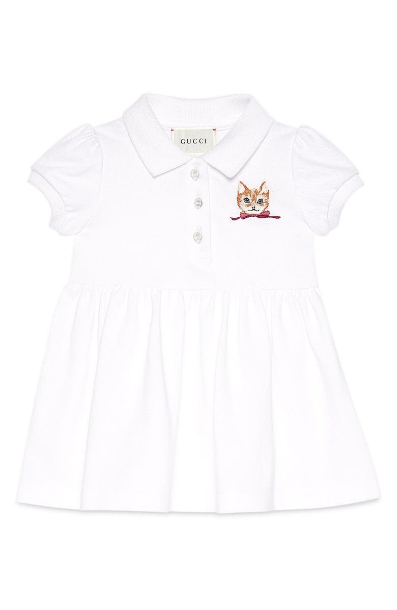GUCCI Cat Embroidered Polo Dress, Main, color, 196