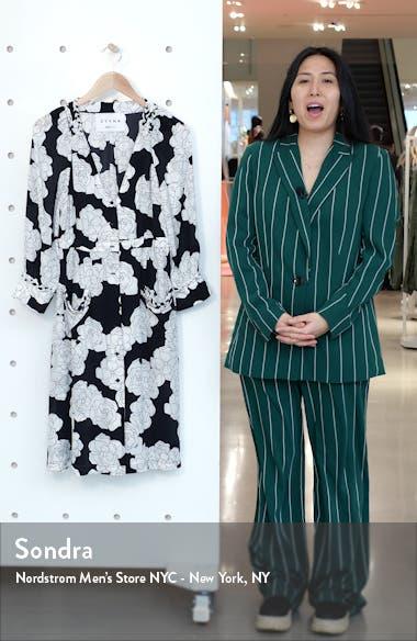 Long Sleeve Floral Silk Shirtdress, sales video thumbnail