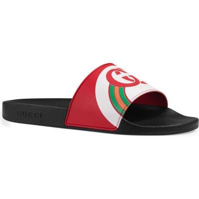 Gucci Pursuit Rainbow Sport Slide, Red
