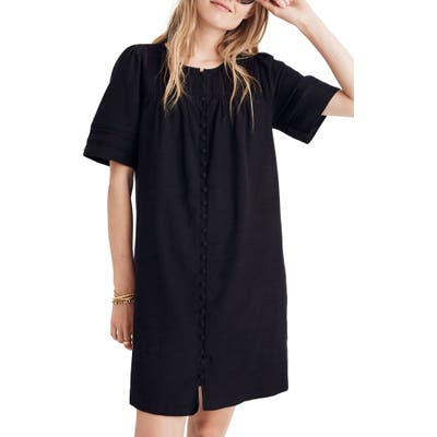 Madewell Button Front Pleated Shift Dress, Black