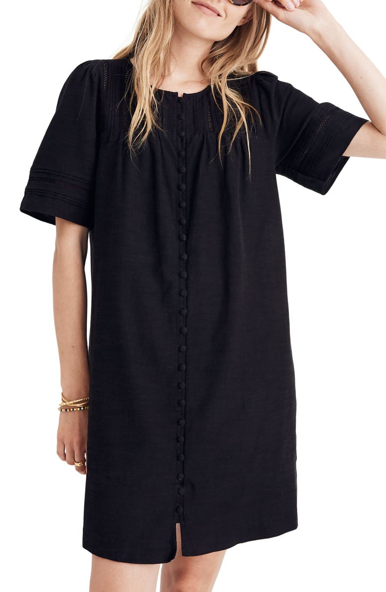 MADEWELL Button Front Pleated Shift Dress, Main, color, 001
