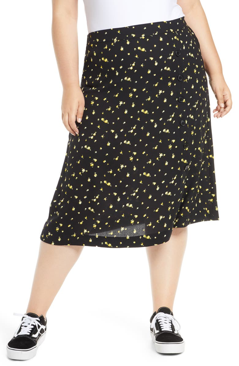 BP. Floral Side Button Midi Skirt, Main, color, BLACK SCATTERED BLOOMS