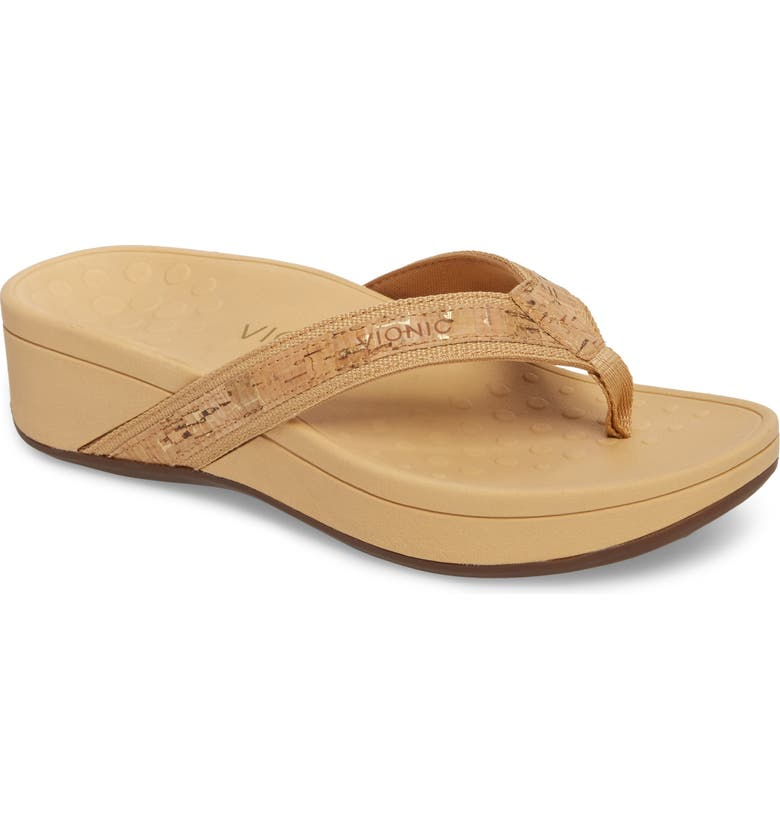 d6e2e61ee High Tide Wedge Flip Flop, Main, color, GOLD CORK LEATHER