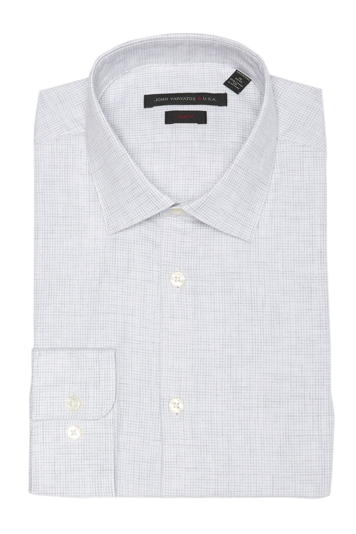 Image of John Varvatos Star USA Heathered Slim Fit Dress Shirt