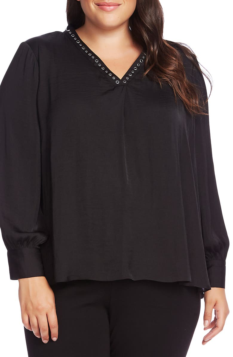 VINCE CAMUTO Studded Satin Top, Main, color, RICH BLACK