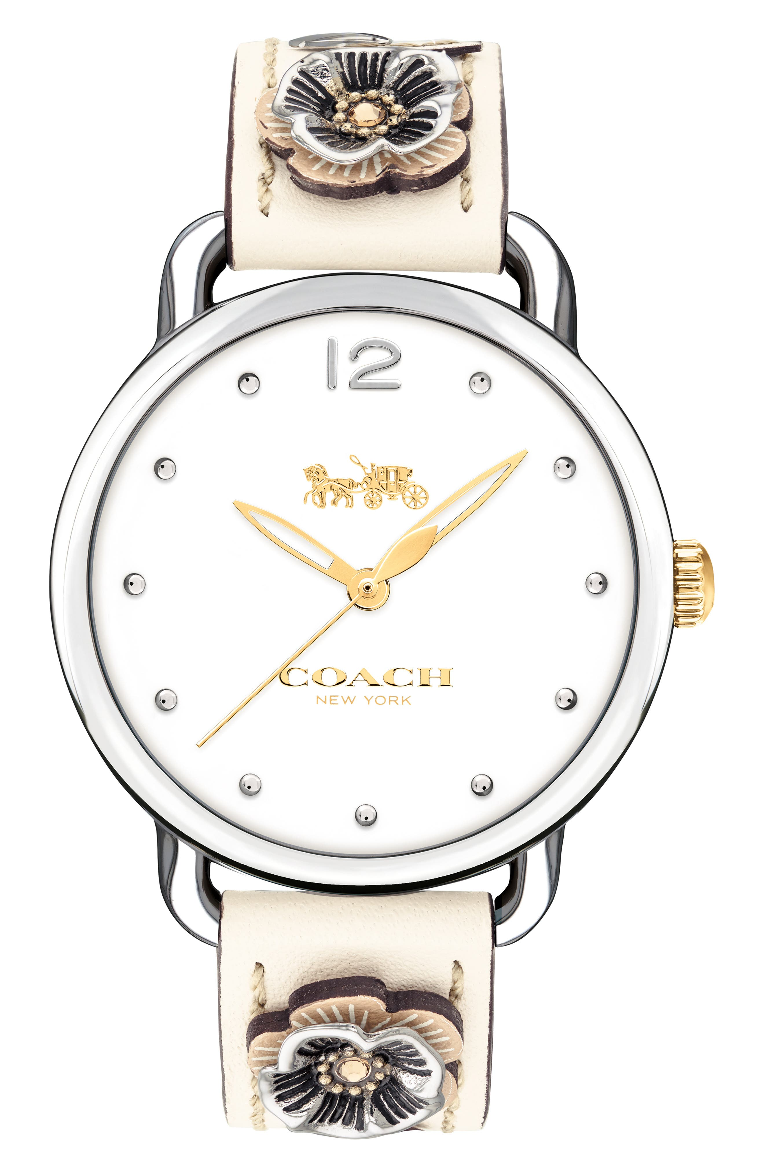 Delancey Leather Strap Watch, 36mm, Main, color, CHALK / WHITE/ SILVER