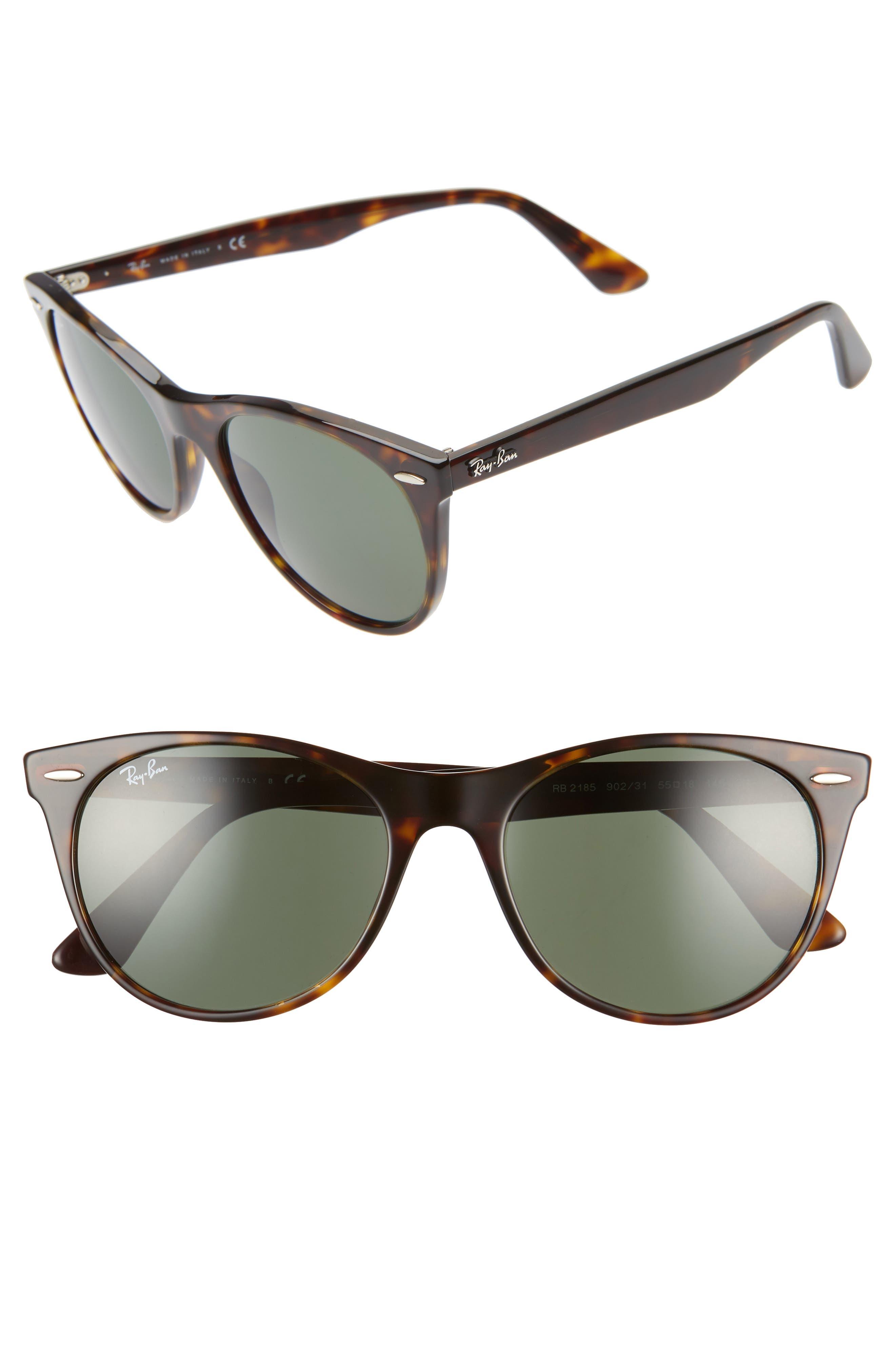 Ray-Ban 55Mm Round Wayfarer Sunglasses - Havana Solid