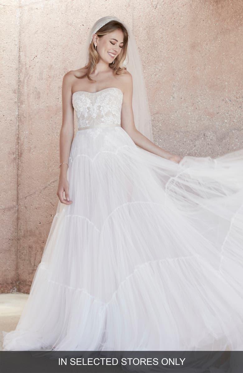 WATTERS Dexter Tulle Wedding Skirt, Main, color, IVORY/ MILK TEA