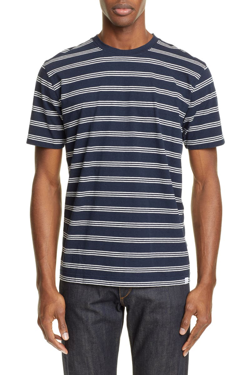 NORSE PROJECTS Johannes Stripe T-Shirt, Main, color, DARK NAVY