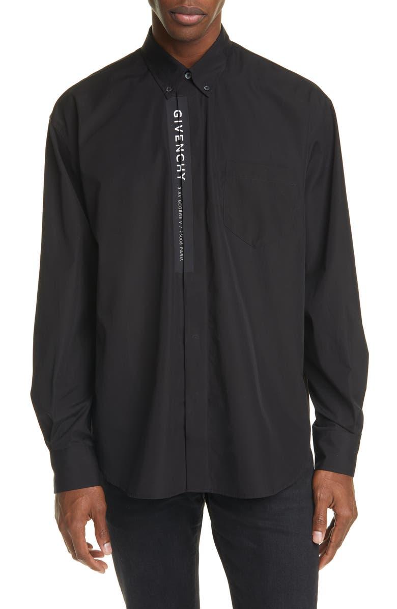 GIVENCHY Oversize Address Black Button-Down Shirt, Main, color, BLACK