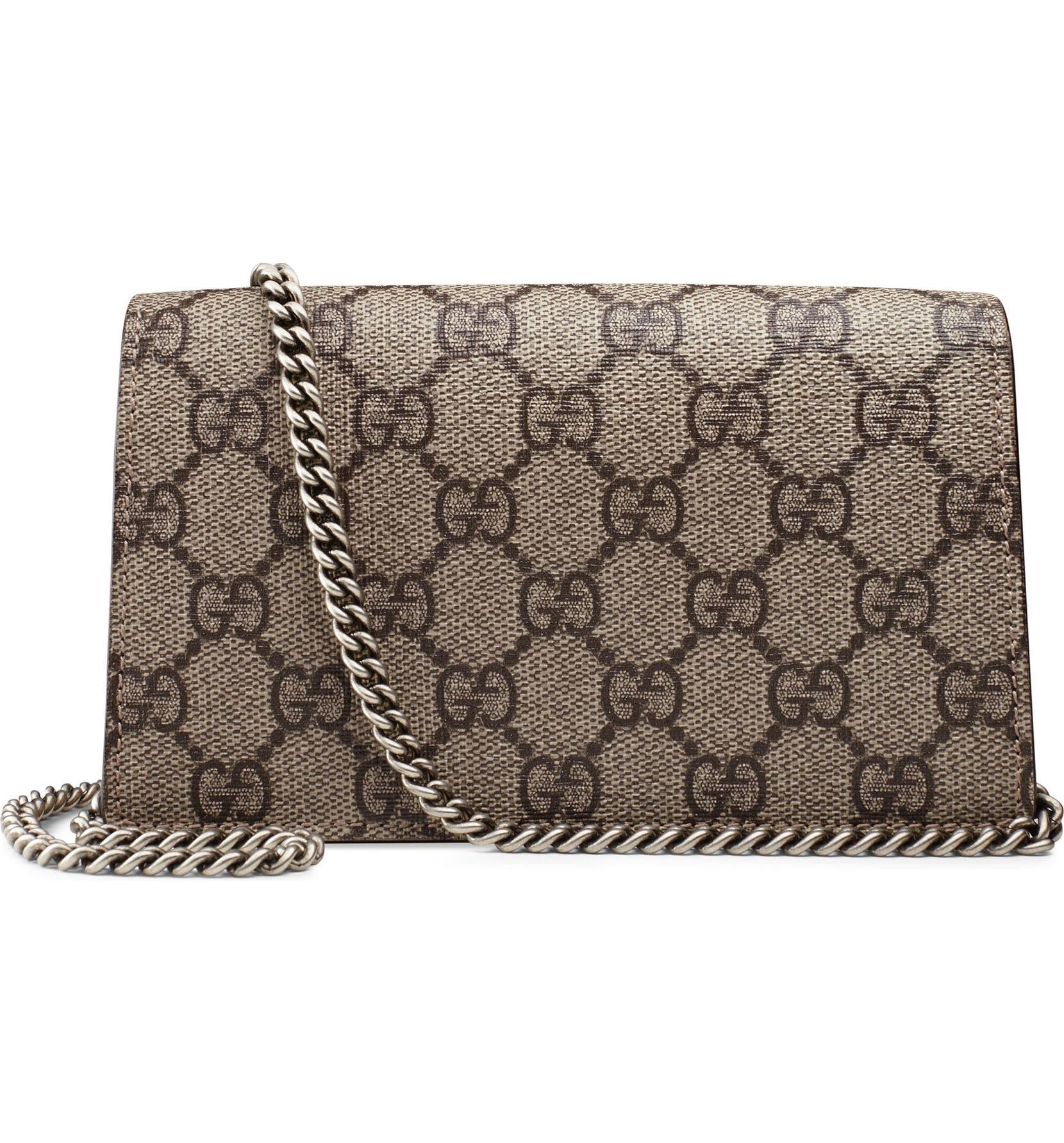 6abbca87fb10 Gucci Super Mini Dionysus GG Supreme Canvas & Suede Shoulder Bag | Nordstrom